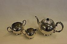 Silver Plate WMH&S Teapot, Sugar Bowl and Milk Jug