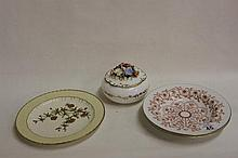 Royal Crown Derby Plate plus lidded Pot and Bowls