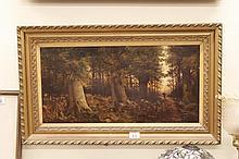 Pair of Gilt framed oils of canvas of woodland scene signed Williamson