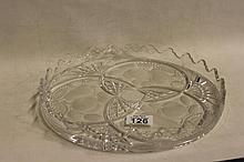 Cut and etched Glass Tray with fruit design