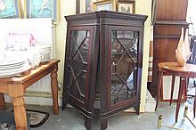 Two vintage glass fronted display cabinets