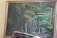 Framed oil on canvas of Jungle signed Henry '90