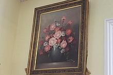 Gilt framed signed oil on board of still life