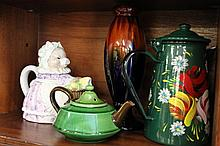 Six Teapots plus vase and Jug