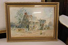 Framed and glazed signed watercolour of cottage scene