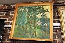 Framed oil on board of Woodland