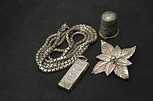 Collection of Silver to include Dog Tag Necklace, Brooch and Thimble
