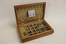 Oak Jewellery box filled with costume Jewellery
