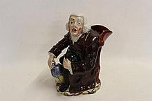 Antique Staffordshire Night Watchman Jug