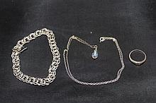 Silver Bracelet, Necklace and Ring