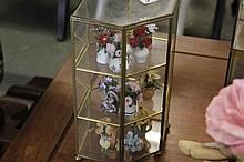 Display case with twelve china potted Flowers