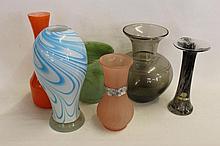 Six pieces of Studio Glass