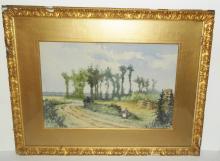 19th c. watercolor signed Francin