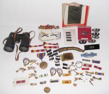 Military pins, badges, belt buckle