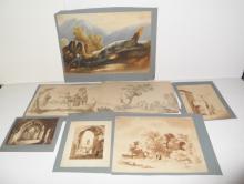 7 original 18th c. watercolors, unsigned