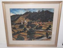 Watercolor landscape scene signed