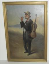 Oil on canvas man smoking