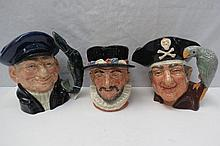 Three Royal Doulton large character jugs - Old