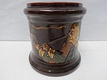 Royal Doulton brown glazed tobacco jar decorated