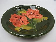 A Moorcroft dish with Hibiscus design c.1960's