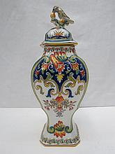 A Continental vase and cover with blue backstamp