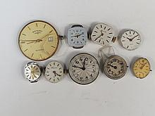 A small collection of watch movements including