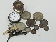 A quantity of pre 1947 silver coinage, a ladies