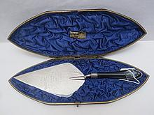 A HM silver presentation trowel used for paying