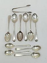 A quantity of HM silver teaspoons and a pair of