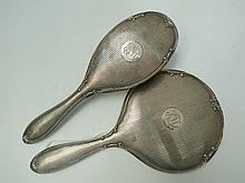 Silver backed matching hairbrush and dressing