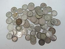 A quantity of assorted silver coinage.