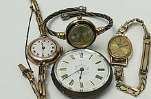 Four watches to include a 9ct ladies bracelet