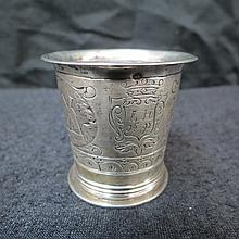 An early Continental silver tot cup with engraved