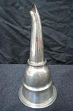 A 19thC white metal wine funnel, measuring 16cm in