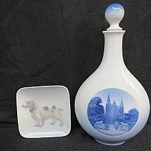 A Royal Copenhagen stoppered flask bearing image of Rosenborg Castle; also a Royal Copenhagen pin di
