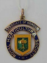 A Royal Horticultural Society Associate of Honour polychrome enamel medal presented to D Dawson, 198