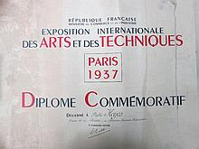 Phyllis Keves. Diploma from Paris Exhibition of 1937. Miss Keves was a fringe mentor of the Bloomsbu