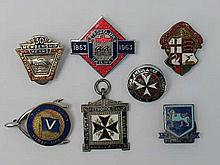 Five enamelled railway badges inc 'Metropolitan Railway 1863-1963'. With two other badges.