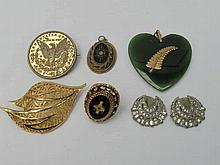 A small collection of costume jewellery including a New Zealand nephrite pendant and a pair of Art D