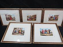Five neatly framed coloured prints (probably Baxters) of children at play etc, Christies Label verso