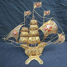 A Spanish galleon worked entirely in filigree gilt