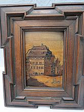 A 19thC German inlaid panel depicting a street