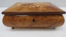 A 20thC burr musical jewellery case by Walter