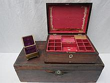 A 19thC rosewood jewellery box with pewter and