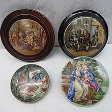 Four 19thC pot lids: Dr Johnson (AF), Hide and