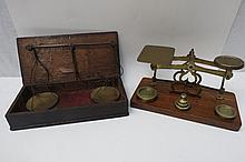 A pair of 19thC steel balance scales with brass