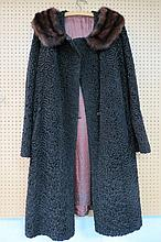 A brown Astrakhan cloth ladies coat with a fur