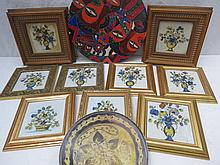 Nine various tiles, framed, each depicting vases