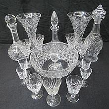 A quantity of cut glass by Waterford and other