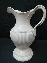 A Leeds creamware ewer, part gadrooned on a
